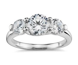 BN Three Stone Petite Trellis Diamond Engagement Ring i