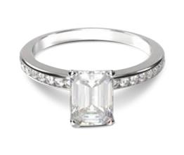 Channel Set Emerald Diamond Engagement Ring