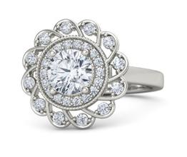 Sunflower halo palladium engagement ring