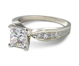 Bow tie channel set princess cut diamond engagement ring