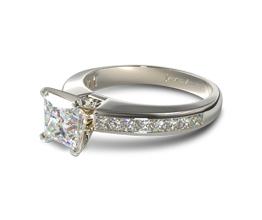 Channel set princess cut diamond engagment ring