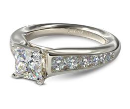 Graduated channel set princess cut diamond engagement ring