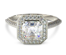 Octagon halo vintage style engagement ring