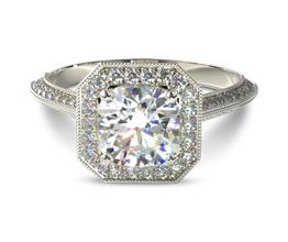 Octagonal halo vintage round diamond engagement ring