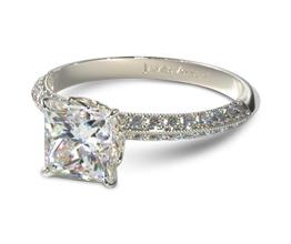Pavé knife edge princess cut diamond engagement ring