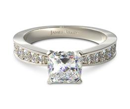 Perfect Pavé cushion cut diamond engagement ring (0.24 carat in setting)
