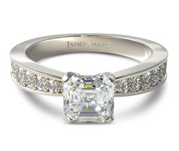 Perfect pavé asscher cut diamondengagement ring