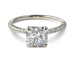 Petite pavé radiant engagement ring