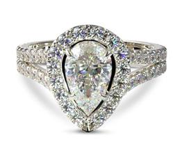 Split band halo pear diamond engagement ring