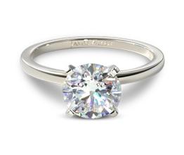 Slim band solitaire round diamond engagement ring