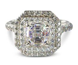 Split band double halo asscher engagement ring