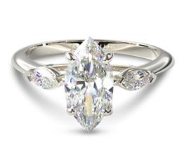 Three stone marquise diamond engagement ring