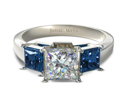 Three stone princess engagement ring with sapphire side stones