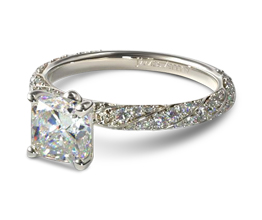 Twisted rope pavé cushion cut diamond engagement ring