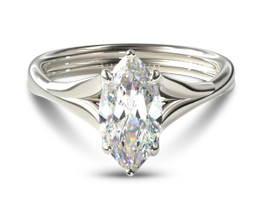 Twisted shank marquise diamond engagement ring