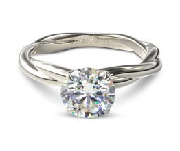 Woven Rope Band Solitaire Diamond Engagement Ring