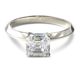 Knife edge asscher diamond solitaire engagement ring