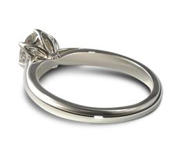 Modern tulip basket six prong engagement ring