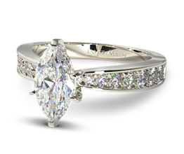 Perfect pavé marquise diamond engagement ring