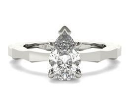 Octagon solitaire pear shaped engagement ring