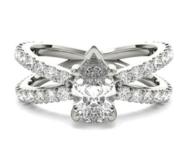 Pear Shaped Open Band Diamond Engagement Ring