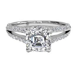 Asscher Cut Double French-Set Diamond 'V' Engagement Ring
