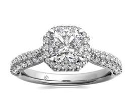 R Asscher Cut Three Row Pave Diamond Halo Engagement Ring ctw