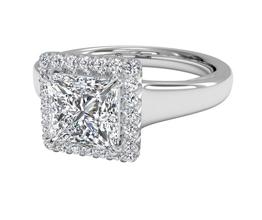 Cushion French-Set Halo Diamond Engagement Ring