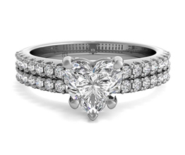 Double French-Set Band Heart Diamond Engagement Ring