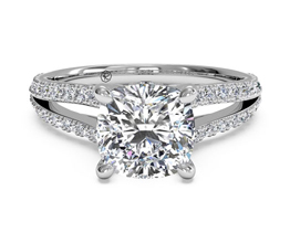 Double French-Set Diamond 'V' Engagement Ring (0.24 carats in setting)