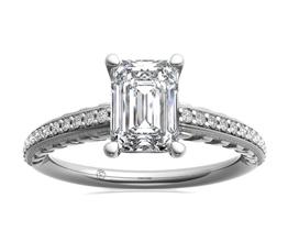 Engraved Emerald Diamond Engagement Ring