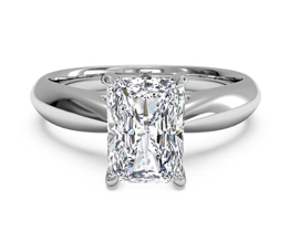 Tapered Radiant Diamond Engagement Ring With Surprise Diamonds