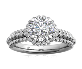 Three Row Graduating Diamond Halo Engagement Ring