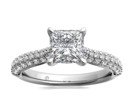 Three Row Pavé Diamond Engagement Ring