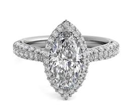 Three Row Pavé Diamond Halo Engagement Ring