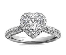Three Row Pavé Heart Diamond Halo Engagement Ring