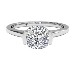 Semi-bezel cushion cut diamond engagement ring