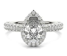 Ritani Three Row Pavé Diamond Halo Engagement Ring