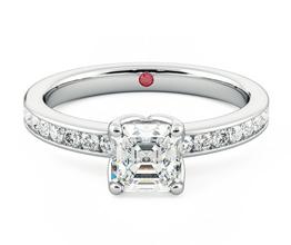 Cosmic Asscher diamond centre and channel-set diamond ring