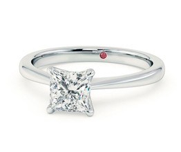 'Elysium' tapered solitaire princess cut engagement ring
