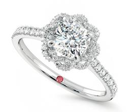 'Entwine' halo cushion cut diamond ring