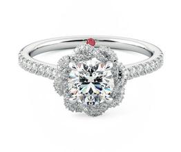 'Entwine' halo diamond engagement ring