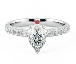 Halcyon pavé pear diamond engagement ring