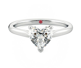 'Hope' three prong heart solitaire engagement ring