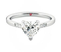 'Lissome' heart side stone diamond ring