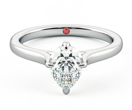 Pear diamond four-claw solitaire