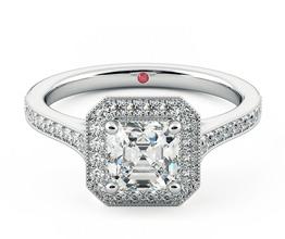Talisman Asscher diamond halo ring with hand-applied milgrain