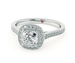 'Talisman' cushion cut diamond engagement ring