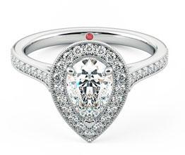 Talisman pear diamond halo engagement ring