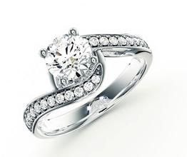 Twisted pavé diamond engagement ring